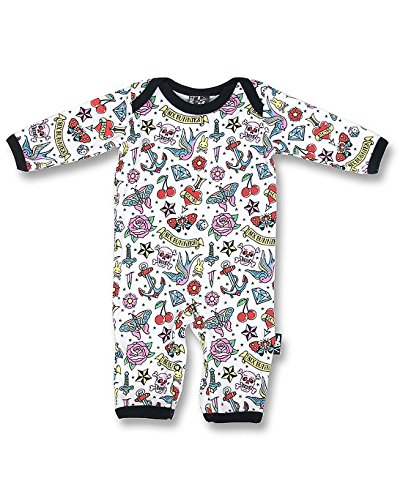 Six Bunnies Baby Body Tattoo Rockabilly Flash Baby Strampler, Farbe:Weiss, Kindergrößen:0-3 Monate