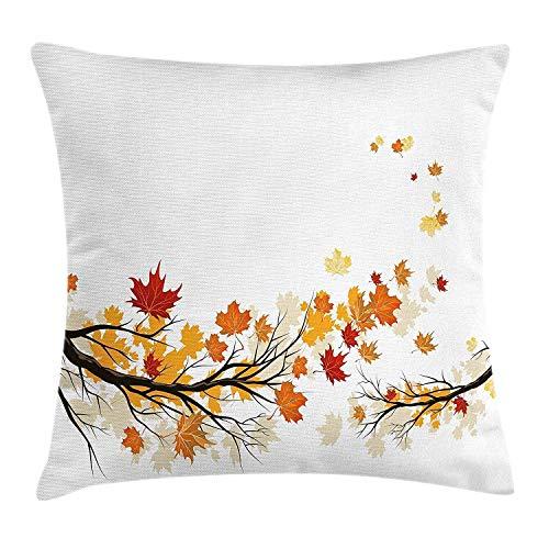 Fundas de almohada de otoño con diseño de ramas de árbol de otoño, diseño de hojas de colores para la temporada pastoral, funda de cojín decorativa para sofá de 45,72 x 45,72 cm, color naranja oscuro