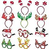 12 Piezas de Diadema y Marco de Gafas de Navidad para Fiesta Navidad Banda de Pelo Sombreros de Pelo Accesorios de Cabina de Fotos (Estilo B)