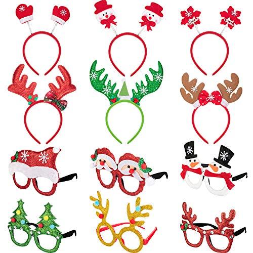 12 Piezas de Diadema y Marco de Gafas de Navidad para Fiesta