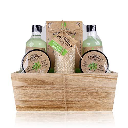 Accentra Olijf-geschenkset in houten mand, bad-, spa- en doucheset, olijfgeur, 6-delige cadeauset