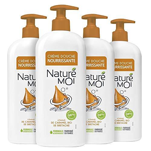 Naturé Moi – Crème douche à l'extrait de caramel bio de Bretagne – Hydrate et nourrit les peaux normales à sèches – Lot de 4 – 750ml