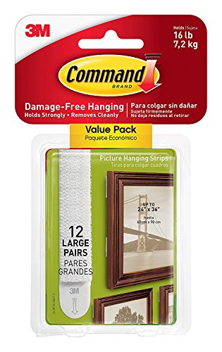Command Large Picture-Hanging Strips, White, 12-Sets