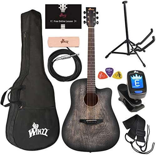 WINZZ 41 Inches Cutaway Carved Acoustic Guitar Beginner Starter Bundle with Online Lessons Padded product image