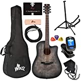 WINZZ 41 Inches Cutaway Carved Acoustic Guitar Beginner Starter Bundle with Online Lessons, Padded Bag, Stand, Tuner,...