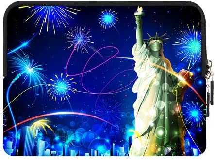 Statue Max 82% OFF of Liberty On Firework Background Sleeve for Year-end gift IPad Zipper
