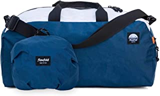 24L Packable Duffle Bag - Ultra Lightweight & Water Resistant - Weekend Overnight Bag - TSA Compliant Carry-On - Vegan - Made in USA- Navy/White/Orange