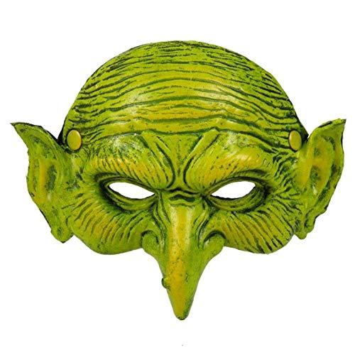 JHXXJDNKCKSHEA Fiesta de Carnaval de Halloween Mscara de Fiesta Duende Verde Disfraz de Cosplay Elfo Verde Mscara de Bruja aterradora Accesorios de Fiesta Mscara, Verde