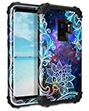 Casetego Compatible Galaxy S9 Case,Floral Three Layer Heavy Duty Hybrid Sturdy Armor Shockproof Full Body Protective Cover Case for Samsung Galaxy S9,Mandala