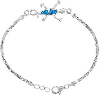 Sterling Silver Synthetic Opal Gecko Bracelet Women Lobster Lock, 7 1/4 inch Long