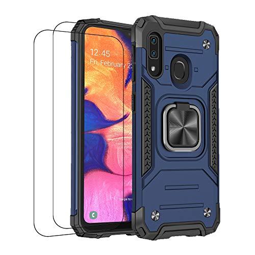 Jancyu - Carcasa para Samsung A20/A20s Samsung A20e (silicona, antigolpes, con cristal templado, silicona, antideslizante, protección magnética) azul Talla única