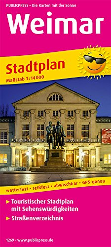 Weimar: Touristischer Stadtplan mit Sehenswürdigkeiten und Straßenverzeichnis. 1:14000 (Stadtplan: SP)