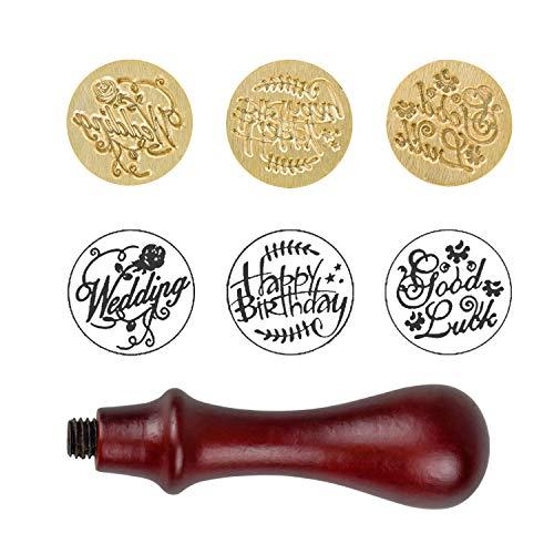 Wachs Siegelstempel Wax Seal Stamp Siegel Set Vintage Stil Dekorativer Siegel Holzgriff Brief mit 3 Stk verschidene Gravur With Happy Birthday,Good lucky,Wedding
