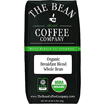 The Bean Coffee Company Organic Breakfast Blend, Medium Roast, Ground, 16 Oz Bags (Pack Of 2)