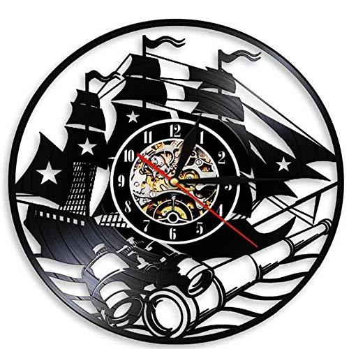 Gbrand Sailing Boat Wall Clock Moderno Design Home Reloj Vintage Decorativo Yate Vinyl Record Reloj Reloj Relojes Decoración para Interiores-Sin LED
