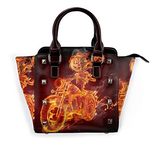 BROWCIN Halloween Kürbis Laterne Flamme Schädel Motorrad Ghost Retro Horror Festival Klassische Kunst Abnehmbare mode trend damen handtasche umhängetasche umhängetasche