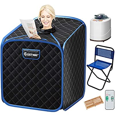 COSTWAY Portable Folding Steam Sauna Tent, Home Spa Steamer for Weight Loss, Timer and 9 Adjustable Temperature Levels, with Remote Control, Chair, Steam Hose, Foot Massage Roller