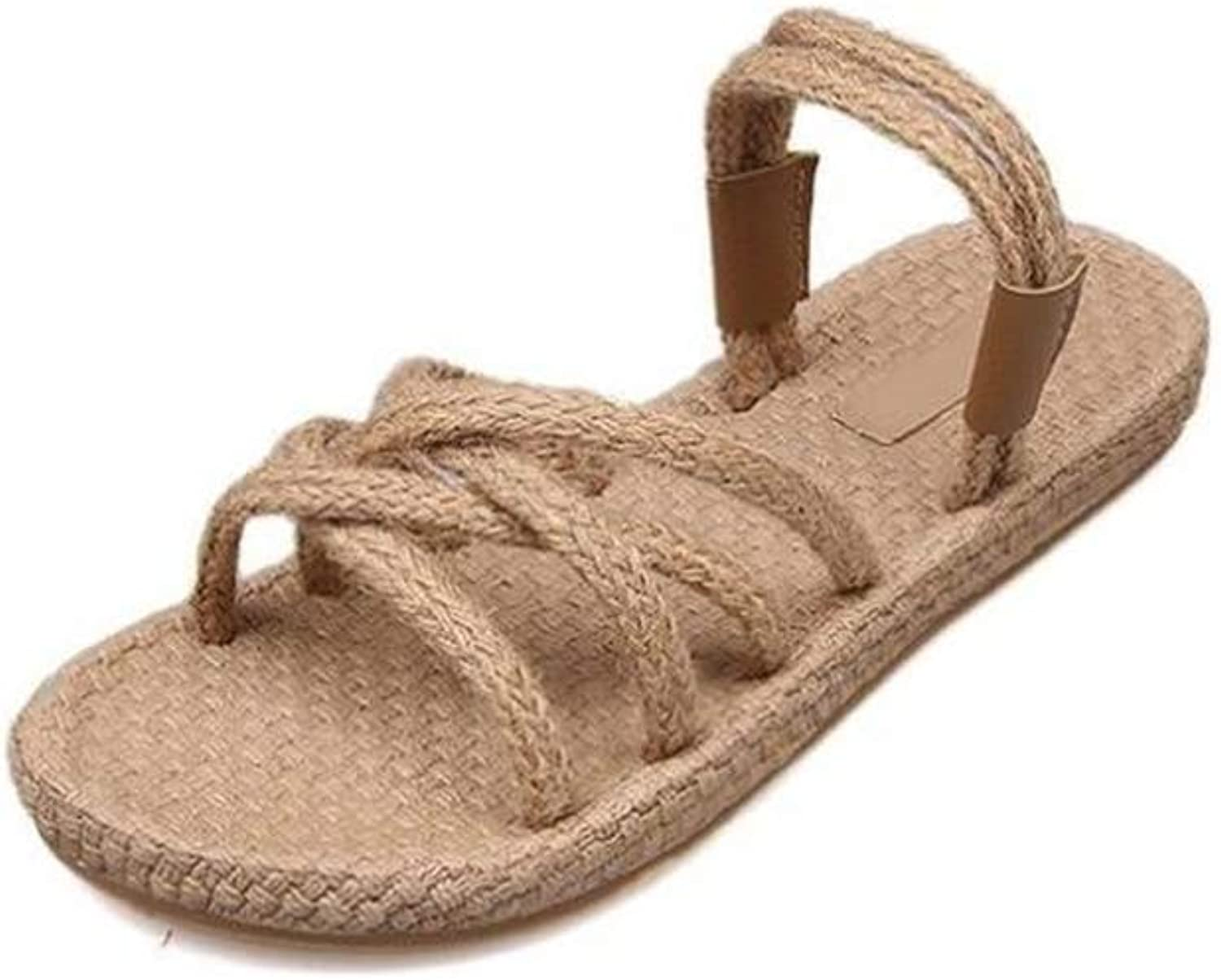 HULUN Hand-Made Hemp Rope with Straps Knitted Flat Sole and Two Women's Sandals