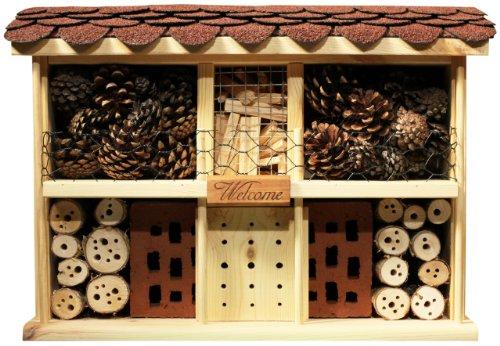 Luxus-Insektenhotels 22628e Insektenhotel Landhaus Komfort, fertig gebautes Insektenhaus, 47x34x12,5 cm, Bienenhotel aus stabilem Vollholz, Marienkäferhaus/Schmetterlingshaus