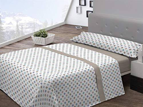 Pierre Cardin Set di lenzuola in flanella a pois da 150 cm, beige, 100 Percent_poliestere, letto da 150 cm