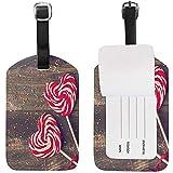 Étiquette de Bagage Sweet Love Heart Lollipop sur Planche de Bois Titulaire de la Carte nom tag pour Bagage Valise Sac