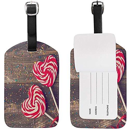 Carneg Gepäckanhänger Sweet Love Heart Lollipop auf Holzbrett Reisemarke Visitenkartenetui für Gepäck Koffer Tasche 1 Stück