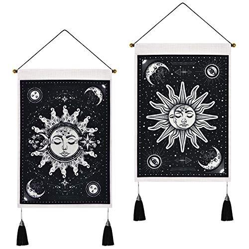 Hleane Juego de 2 tapices de pared con diseño de sol y luna, psicodélico, toalla de arena, hippie, decoración del hogar, color negro y blanco, 35 x 50 cm