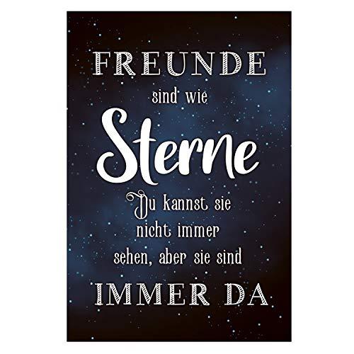 Logbuch-Verlag Bild Schild Freunde SIND WIE Sterne Wandschild dunkelblau schwarz weiß persönliches Geschenk Deko Freund Beste Freundin 21 x 31 cm