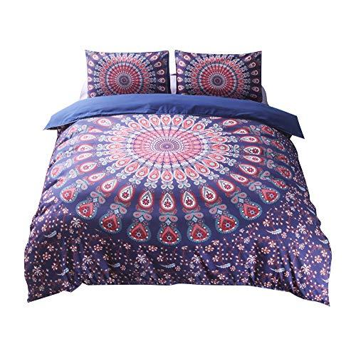 Générique Lot de 3 Tissu très Doux Bohême Style Parure de lit – Housse de Couette de lit avec taies d'oreiller en différentes Dimensions, Purple-Red, 200x230 cm-fit for 1.5M Bed