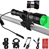 WINDFIRE 350 Lumens Cree Green LED Hunting Flashlight 400 Yards Long Range Hunting Light Rechargeable Coyote Hog Light Lamp Torch with Remote Pressure Switch, Barrel Mount, Scope Mount, Batteries