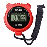 PULIVIA Sports Stopwatch Timer Lap Split Memory Stopwatch, 12/24 Hour Clock Calendar with Alarm, Shockproof Stopwatch for Swimming Running Sport Training Coaches Referee Equipment, Red