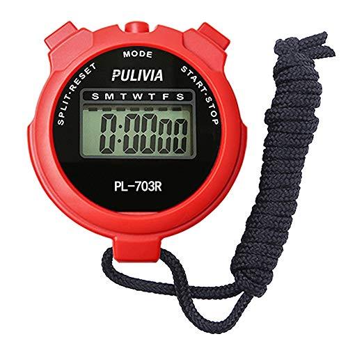 PULIVIA Sport Cronometro Timer Lap Split Memory Cronometro Digitale, Calendario 12/24 Ore con Sveglia, Cronometro Sportivo Nuoto Corsa Calcio Allenatori Attrezzatura Arbitro(PL703-Rosso)