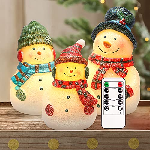 CRYSTAL CLUB Christmas Flameles Candles, Set of 3 Santa Snowman Real Wax Candles, Battery Operated LED Candles with Remote and Timer for Christmas Tree, Holiday Home Décor (Red)