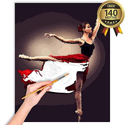 malango® Malen nach Zahlen Set Ballerina in Rot über 140 Motive für Erwachsene und Kinder DIY Leinwand Ölgemälde 40 x 50 cm ohne Rahmen Ballerina in Rot