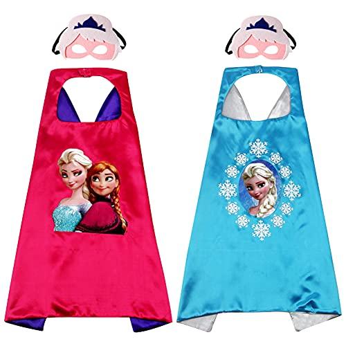 2 Pcs Capas de Congelado para Niños, Disfraces de Congelado para Niños, Kit de Cosplay para Niños con 2 Máscaras, LKNBIF Regalos para Cumpleaños, Navidad o Carnaval
