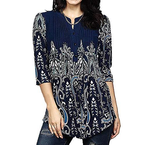 IZHH Damen Langarmshirts, Frühling Elegante Frauen O-Ausschnitt Tunika Outdoor Bluse T-Shirt Tops Seidiges Material Ethnischer Blumendruck(Dunkelblau2,XX-Large)