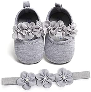 Zapatos de Niña con Diadema Regalo Set Bautizo Lovely Algodón Flor Suave Suela Zapatillas Antideslizantes Zapatos de Princesa