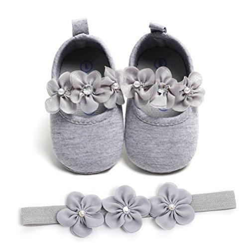 EDOTON Baby Mädchen 2 Pcs Kleinkind Party Schuhe Mit Stirnband, Grau, Gr.- 12-18 Monate/Herstellergröße- 5