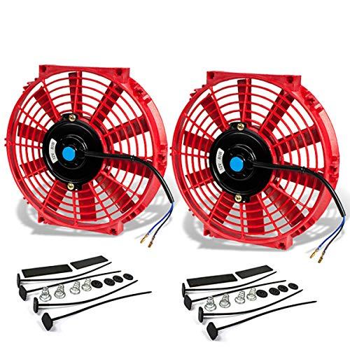 DNA Motoring RAF-10+FMK-X2 - Kit de ventilador de refrigeración para radiador eléctrico (2 unidades), Rojo