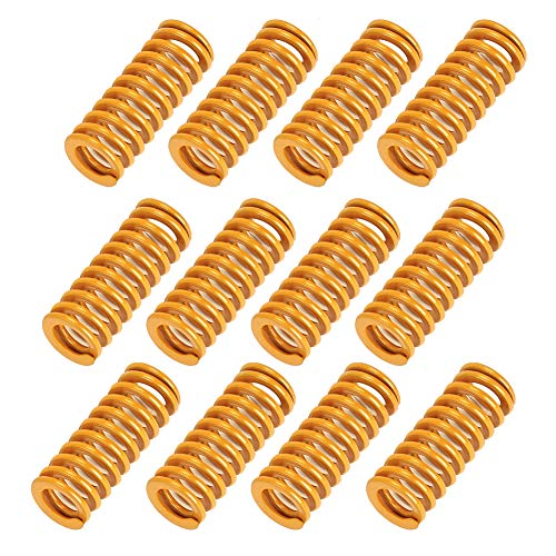 10 PCS Yellow Spring Die Head Spring 3D Printer Compression Spring 0.31inch in Outside Diameter 0.79inch Long Compatible with Creality CR-10 10S S4 Ender 3 Heating Bed Spring Bottom Connection Level