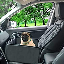 Dog Car Seat with Pet Seat Belt, Dog Booster Seats (2-in-1) Fold Down Flaps for Full Front Seat Coverage or Small Dog Hammock | Pet Travel Accessories