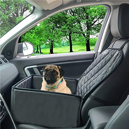 Dog Car Seat with Pet Seat Belt, Dog Car Seat Cover (2-in-1)...
