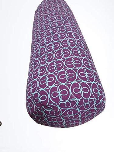 Tvamm-Lifestyle - Cojín para yoga (65 x 22 cm, relleno de cáscara de trigo sarraceno), Estampado lila.