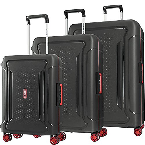 American Tourister Tribus Hardside Luggage with Spinner Wheels, Black, 3-Piece Set (20/25/29)