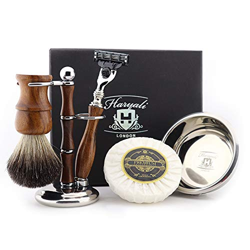 Haryali London Houten Heren Scheerset 3 Rand Veiligheid Scheermes met Pure Zwarte Badger Haarborstel, Standaard, Zeep en Bowl Perfect Kerstcadeau Set voor Mannen