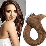 Extension Adesive Capelli Veri Biadesivo Extensions Biadesive 20 Fasce 50g/Set 100% Remy Human Hair Tape in Allungamento (40cm #6 Castano)
