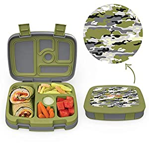 Bentgo Kids Prints (Camouflage) - Leak-Proof, 5-Compartment Bento-Style Kids Lunch Box – Ideal Portion Sizes for Ages 3…