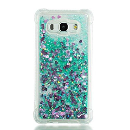 Coque pour Samsung Galaxy J5 2016, XINYIYI Transparent Housse Etui de Protection Flottant Liquide Sables Brillante en TPU Gel Case Paillette Motif Anti Choc Bumper Resistante- Coeur Vert