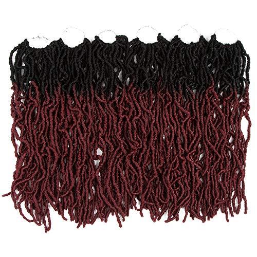 Style Icon 6 paquetes ondulado sintético Locs Crochet pelo 18 pulgadas Nu Locs Crochet pelo de rastas sintéticas Crochet ombre rojo vino rasta extensiones
