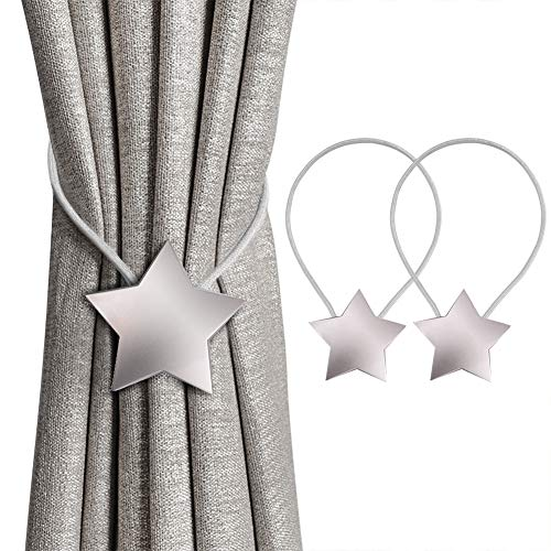 INHDBOX Magnetische Vorhang Raffhalter Kreativ Vorhang Clips Seil Rückwärtige Vorhang Halter Schnallen Vorhang Binder Gardinenhalter für Haus Dekoration 2 Stück (Silber, Stern)